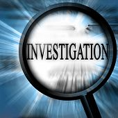 stock photo of private investigator  - investigation on a blue background with a magnifier - JPG