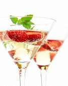 stock photo of sparkling wine  - strawberry cocktail with berry in martini glass isolated on white background - JPG