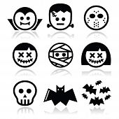 stock photo of halloween characters  - Vector icons set of creepy or scary Halloween characters isolated on white - JPG