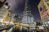 stock photo of illinois  - Chicago downtown by night Illinois  - JPG