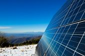 pic of solar battery  - solar cells on the top of the mountain italy - JPG