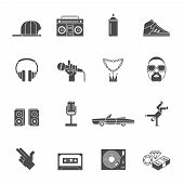 foto of thug  - Rap hip hop music black icons set isolated vector illustration - JPG