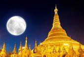image of yangon  - Shwedagon Pagoda and big moon in Yangon - JPG