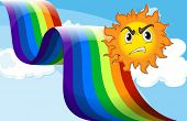 image of frown  - Illustration of a sun frowning near the rainbow - JPG