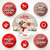 image of christmas greetings  - Set of round frames with Christmas greetings and flat icons with long shadows  - JPG