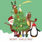 picture of bear  - Cute christmas card with Santa reindeer bear and penguin - JPG