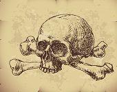 stock photo of skull bones  - Hand drawn skull and bones on old paper - JPG