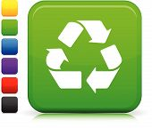 Recycling Icon On Square Internet Button