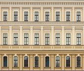 foto of neoclassical  - Neoclassic architecture wall with windows vintage building background - JPG