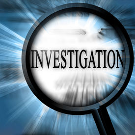 foto of investigation  - investigation on a blue background with a magnifier - JPG
