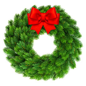 picture of ribbon decoration  - christmas wreath with red ribbon bow decoration isolated on white background - JPG