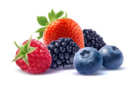 pic of packages  - Strawberry raspberry blueberry and black berry isolated on white background as package design element - JPG