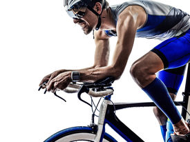 pic of triathlon  - man triathlon iron man athlete biker cyclist bicycling biking in silhouette on white background - JPG