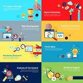 picture of internet icon  - Internet design concept set with successful strategy digital marketing web development icons isolated vector illustration - JPG
