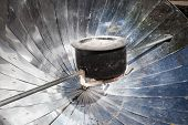 stock photo of mustang  - Solar cooker uses the energy of direct sunlight to heat or cook - JPG