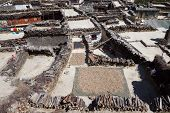 stock photo of mustang  - Rooftop view over Marpa village Mustang Nepal - JPG