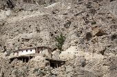 pic of mustang  - Sacred caves outside  Marpa village Mustang Nepal - JPG