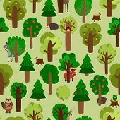 stock photo of boar  - Seamless pattern of green trees with animals - JPG