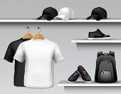 picture of sportswear  - Sportswear store shelf with t - JPG