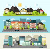 image of urbanization  - Industrial downtown and urban city horizontal banner flat set isolated vector illustration - JPG