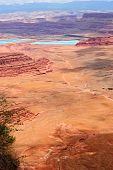 foto of potash  - View from Dead horse state park into canyonlands and salt settling ponds - JPG
