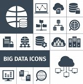 stock photo of accumulative  - Big data secure transmitting processing accumulating computers international network symbols icons collection black graphic vector isolated illustration - JPG