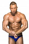 stock photo of body builder  - Attractive male body builder - JPG