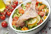 picture of redfish  - Fried fish with vegetables in the pot - JPG