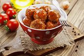 stock photo of meatball  - Meatballs in tomato sauce in the ceramic bowl - JPG