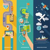 pic of gps navigation  - Navigation GPS routing system vertical  flat banners set with aircraft vessel position velocity detector abstract vector illustration - JPG