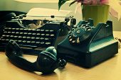 stock photo of compose  - Vintage phone and old typewriter  - JPG