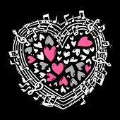 image of heart sounds  - Music sketch concept with treble clef notes musical icons in heart shape vector illustration - JPG