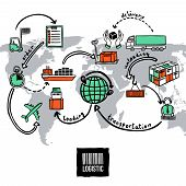 stock photo of logistics  - Logistic sketch concept with shipping and transportation icons and world map vector illustration - JPG