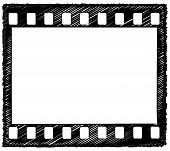 picture of storyboard  - Sketch style artwork of 35mm film frame with sprocket holes originally drawn in Illustrator so the outline is crisp - JPG