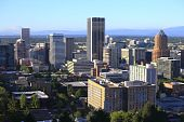 pic of parking lot  - A panorama and skyline view of the city of Portland Oregon from the western hills - JPG