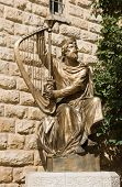 stock photo of israel israeli jew jewish  - Statue of King David near the entrance of his tomb on mount Zion in Jerusalem - JPG
