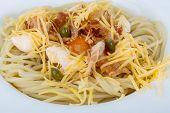 foto of carbonara  - Pasta carbonara with parmesan cheese and bacon - JPG