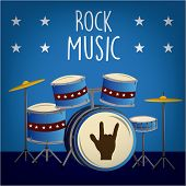 foto of drum-set  - a blue background with a drum set text and stars - JPG
