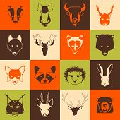 pic of ermine  - Forest animals icons set with cool design - JPG