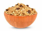 pic of cereal bowl  - muesli cereal in a bowl isolated on white background - JPG