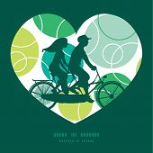 stock photo of tandem bicycle  - Vector abstract green circles couple on tandem bicycle heart silhouette frame pattern greeting card template graphic design - JPG