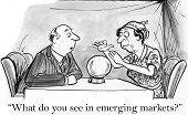 stock photo of fortune-teller  - Cartoon of business investor asking fortune teller  - JPG