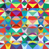 image of bohemian  - Colorful geometric abstract pattern with variety of shapes and colors in 1970s fashion style - JPG