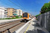 picture of gare  - Suburban railway train at the railways station Catalonia - JPG