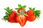 picture of slit  - A heap of fresh strawberries on white background - JPG
