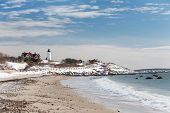 stock photo of cape-cod  - Nobska Lighthouse in Cape Cod on a snowy Winter day - JPG