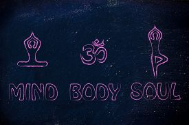 picture of om  - mind body and soul design inspired by yoga with asanas  - JPG