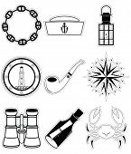 stock photo of wind-rose  - Nautical elements 4 including crab - JPG
