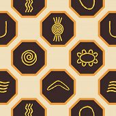 foto of aborigines  - Seamless background with symbols of Australian aboriginal art for your design - JPG