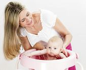 pic of bathing  - portrait of mother with her baby during bathing - JPG